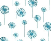 """Turquoise PILLOW COVER- Turquoise Dandelion Pillow- Blue and White Pillow-  Dandelion.16"""",17"""",18"""",20"""" 24"""" 26"""", Lumbar Pillow or Euro Sham"""