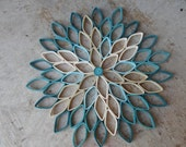 Dahlia wall hanging Teal home decor Paper wall art Original wall decoration