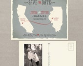 Destination wedding invitation USA State Wedding Modern save the date Two States Two Hearts Grey coral Save the Date Postcard Design fee