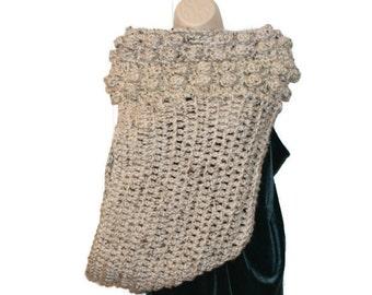 Oatmeal Cowl, Cross Body Vest, Huntress Vest, One Armed Vest, Crochet Vest , Asymmetrical Cowl, Crossbody Scarf, Womens Cowl, Oatmeal Vest