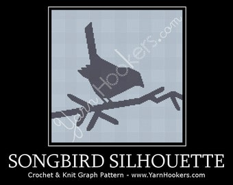 Songbird SIlhouette - Afghan Crochet Graph Pattern Chart - Instant Download