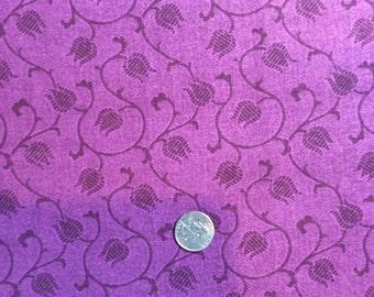 Benartex fabric Tone on Tone Purple TULIPS by Jackie Robinson