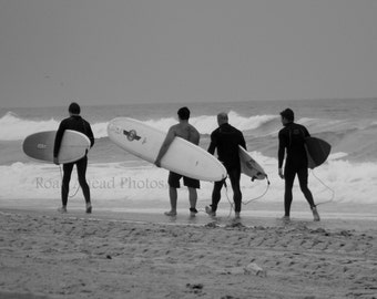 black and white surfer photograph, 5 x 7 matter photo, group of surfers, Huntington Beach