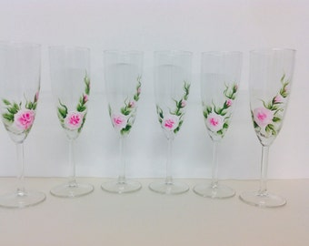 Wedding Hand Painted Champagne Glasses set of 6 Pink Roses