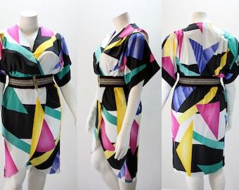 XL Vintage Dress Color Block Cross Over Bust