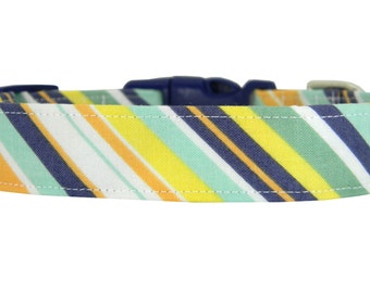 Mint Navy Orange Stripe Dog Collar/ Wedding Dog Collar/ Male Dog Collar: Prep Tie