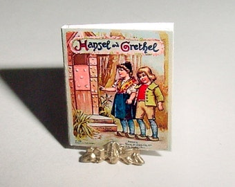 Miniature Book HANSEL and GRETEL Fairy Tale - Raphael Father Tucks and Sons - Dollhouse One Inch Scale Childrens Nursery Book Accessory