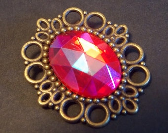 Pink and Bronze Victorian Brooch