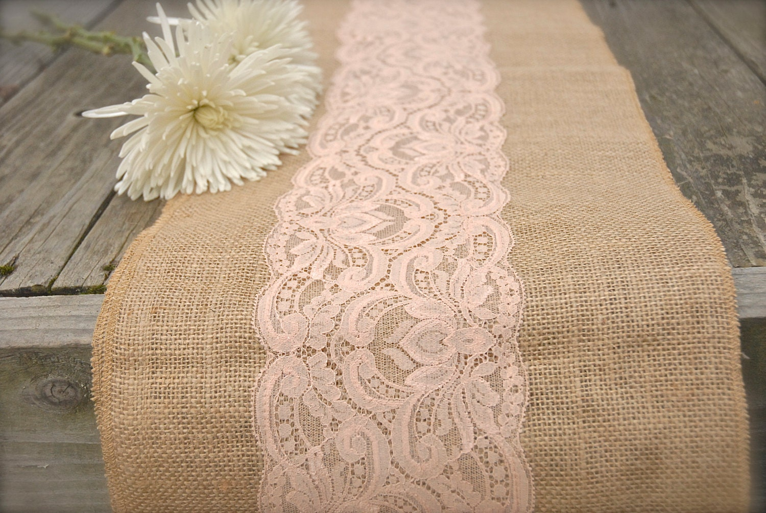 Burlap and Lace Table Runner Peach Lace CHOOSE SIZE by Jessmy