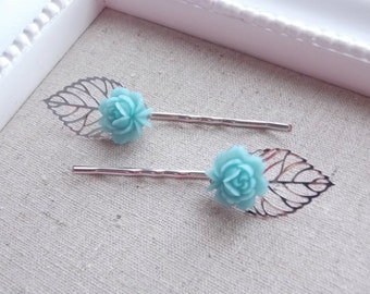 Silver Leaves and Soft Blue Flower Hair Pins. Wedding, Bridal, Everyday