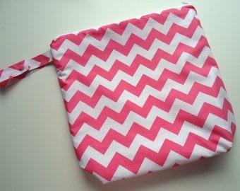 Wet /Dry Bag with Snap Handle - Waterproof Zipper Bag in Pink Chevron