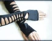 Fingerless Cut Up Gloves, Deconstructive, Shredded, Spandex, Goth, Punk, Steampunk, Cynt D B