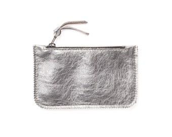 Silver coin purse, leather card holder, small silver leather pouch