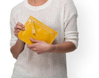 Yellow leather womens wallet, leather pouch wallet bag