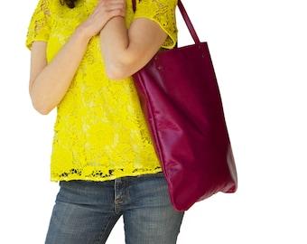 Magenta leather shoulder bag, women leather tote bag