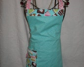 Reversible Aron in Pink Damask and Turquoise with a Yummy Cake and Pie Pocket...Bakers Delight