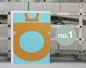 Alphabet Card, Letter A Card, Orange and Turquoise Modern Typography Card, Blank All Occasion Card