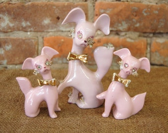Vintage Set of Three Thames Pink  Poodle Figurines with Rhinestones