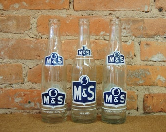 Vintage M & S - Mellow n' Smooth - Soda Pop Bottles from Flint, MI Set of 3