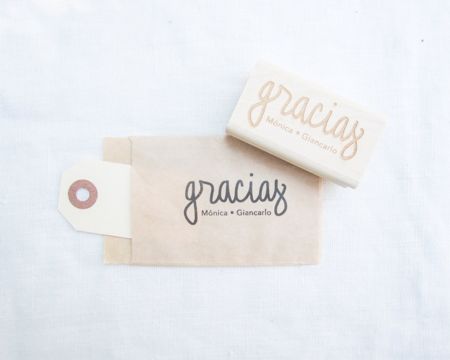 Personalized Wedding Calligraphy Gracias Stamp Handwritten