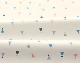 "Cotton Interlock Knit - Colorful Triangles - White Ivory - By the Cut (33 x 35"") 58792-88-26 - GJ"