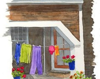 Laundry Day, original watercolor painting