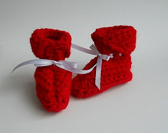 Red Baby Girl Booties  Infant Boy  Slippers  Patriotic Holiday  Christmas 3 To 6 Months Children July 4 Valentines Day Ready To Ship