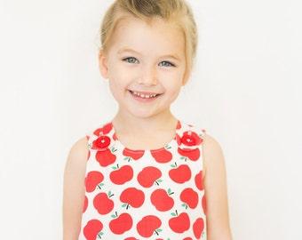 Girl dress - Red Apple Aline dress - Baby girl - Toddler girl dress - size 0-3m, 3-6m, 6-12m, 12-18m, 18-24m, 2T, 3T, 4T, 5T