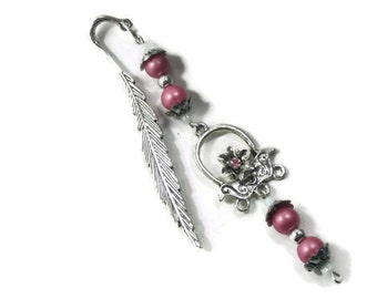 Pink Beaded Bookmark - Floral Charm Beaded Bookmark - Metal Library Bookmark