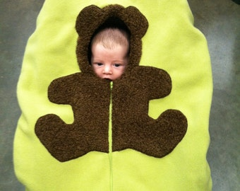 Baby Car Seat Cover... Bear on green, Infant Carseat Cover