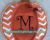 Pumpkin Door Hanger Burlap and Fabric