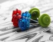 REDUCED Set of 3 Geeky Stud Earrings - Kitsch earrings made from Danish toy building blocks!