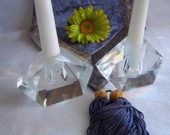 Fancy Diamond Cut Crystal Candle Holders - Elegant French Cottage Chic - Bridal Shower - Wedding Gift - Vintage Home Decor