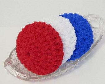 Nylon Net Scrubbies For Your Kitchen And Bath - Red White And Blue