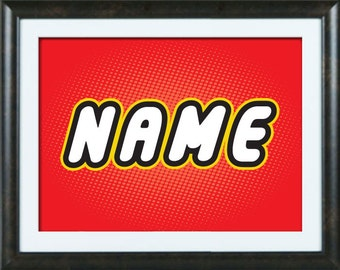 "Any Custom Name Using Lego Letters 8.5"" x 11"" Print - Simply send me your child's name and I will create it."