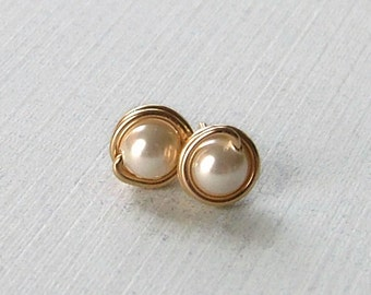 Pearl Studs, Pearl Post Earrings, Wire Wrapped Studs, GoldFilled Studs