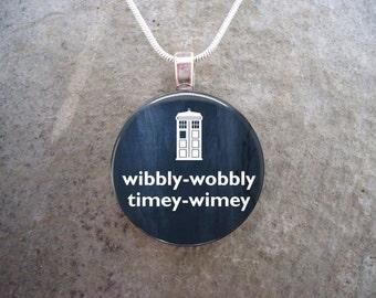 Doctor Who Jewelry - Glass Pendant Necklace - Wibbly Wobbly Timey Wimey