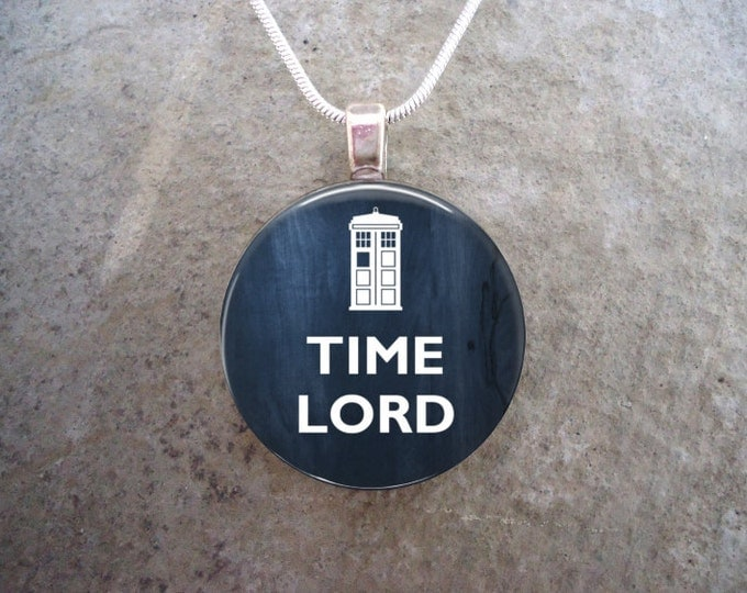 Doctor Who Jewelry - Glass Pendant Necklace - TIME LORD - Retiring 2017