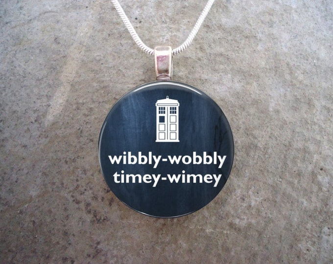 Doctor Who Jewelry - Glass Pendant Necklace - Wibbly Wobbly Timey Wimey