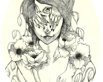 My Name is August pen illustration fine art print