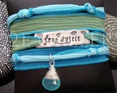 "D2E silk yoga wrap bracelet hand stamped  ""free spirit"",  wire wrapped Peruvian chalcedony, magnetic clasp"