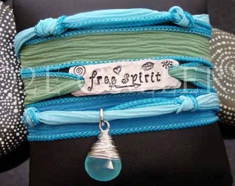 """D2E silk yoga wrap bracelet hand stamped  """"free spirit"""",  wire wrapped Peruvian chalcedony, magnetic clasp"""