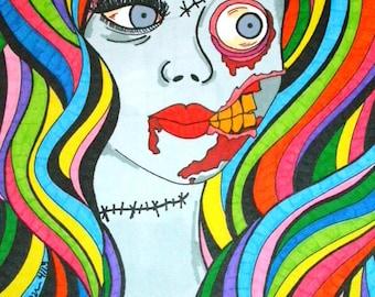 Zombie Girl Print, 8x10 Inch Print, Rainbow Artwork, Colorful Zombie Wall Decor, Macabre Horror Art, Walking Dead Undead, Alternative Art