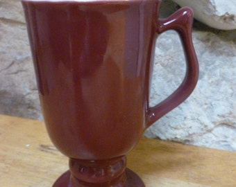 Vintage Hall 1272 Footed Pedestal mug mug Burgundy color Footed