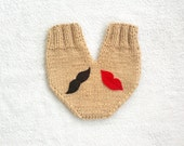 Valentines day gloves, knitted couples gloves, wedding gift, smitten, engagement gift, anniversary gift, gift for couples