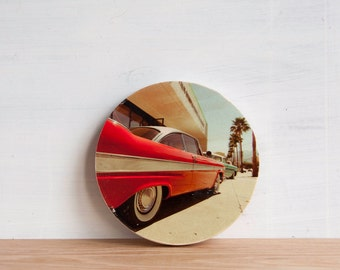Vintage Red Car Photo Transfer Art Block - '50's Classic' by Patrick Lajoie, circle art, Palm Springs, classic car