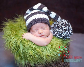 Crochet Striped Elf Hat - Graphite and Cream - Newborn size - Photography prop - choose your color and size - ready to ship two days