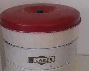Vintage 1930/40s 3 Tier Cake Tin by Garrison (British Made) Red & Cream Shabby Chic Kitchenalia
