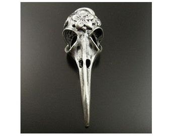 2 Bird Skull Pendants with Flower 3-D Pendant Antique Silver Tone READ DETAILS Long Beak Birds Creepy Gothic Jewelry 41x14 mm