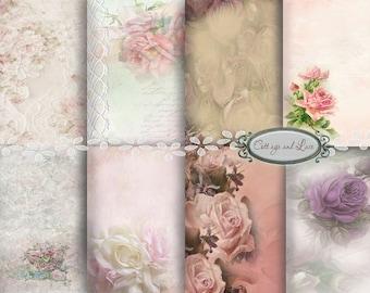 Floral Digital Backgrounds, Pink Roses, Purple Roses,  Pink  Scrapbooking, Digital Roses  Pack  No 1121